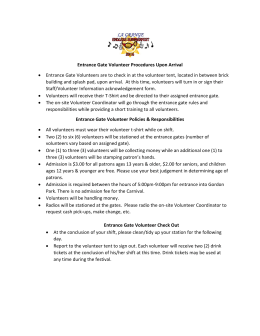 Entrance Gate Volunteer Procedures 2016