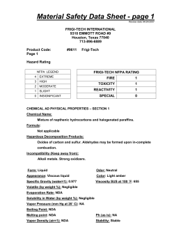 Material Safety Data Sheet - page 1 - Frigi