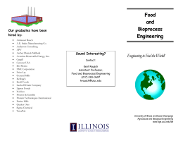 Food and Bioprocess Engineering - Department of Agricultural and