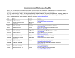Annual Conferences/Workshops – May 2013