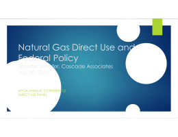 Natural Gas Direct Use and Federal Policy