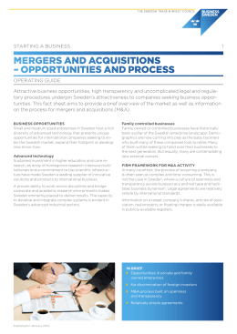 Mergers and acquisitions – process overview