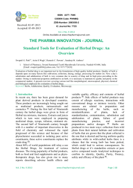 Standard Tools for Evaluation of Herbal Drugs: An