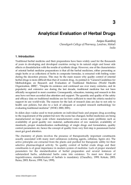 Analytical Evaluation of Herbal Drugs