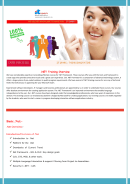 NET Training Overview - PHP, Java Training Institute of Noida
