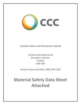 Material Safety Data Sheet - Canada Colors and Chemicals Limited
