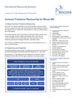 Xencore Contract Freelance Resourcing For Movex v8