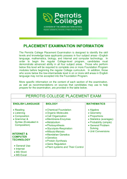 PERROTIS COLLEGE PLACEMENT EXAM