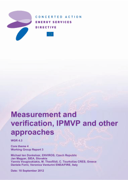 Energy Services - Measurement and verification, IPMVP and other