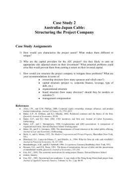 Case Study 2 Australia-Japan Cable: Structuring the Project Company