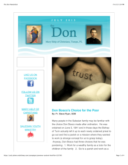 The Don Newsletter - Mary Help of Christians