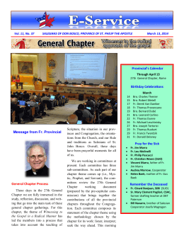 Message from Fr. Provincial Provincial`s Calendar Birthday