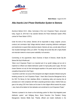 Alba Awards Line 6 Power Distribution System to Siemens
