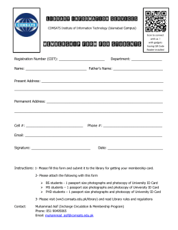 Membership Form For Students - Library Information Services