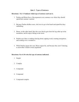Quiz 3: Types of Sentences Directions: For 1