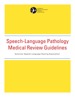 Speech-Language Pathology Medical Review Guidelines