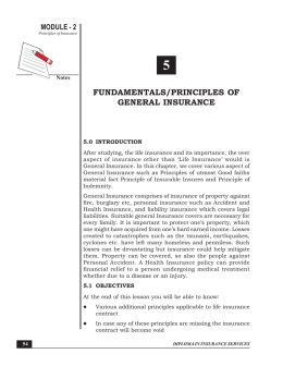 FUNDAMENTALS/PRINCIPLES OF GENERAL INSURANCE