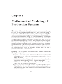 Mathematical Modeling of Production Systems