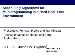 Scheduling Algorithms for Multiprogramming in a Hard-Real