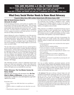 What Every Social Worker Needs to Know About Advocacy