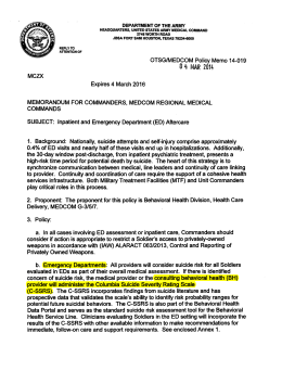 US Army Medical Command requires use of C