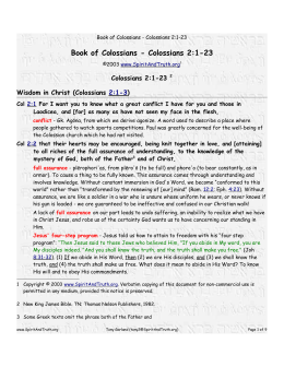 Book of Colossians - Colossians 2:1-23