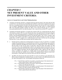 CHAPTER 5 NET PRESENT VALUE AND OTHER INVESTMENT