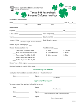 Texas 4-H Recordbook Personal Information Page