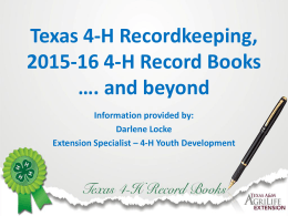 Texas 4-H Recordkeeping