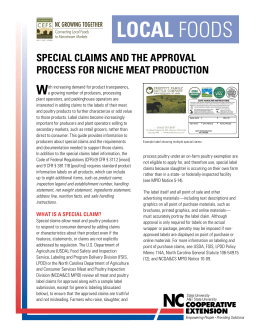 Special Claims and the Approval Process for Niche Meat Production