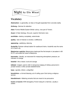 Night by Elie Wiesel Vocabulary