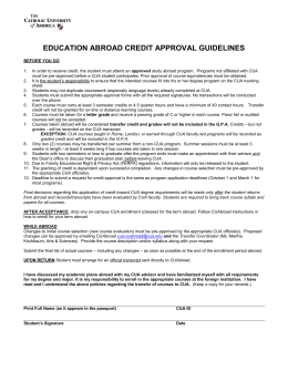 Education Abroad Credit Approval