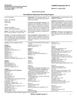 Appendix B of USAREC Reg 601-37