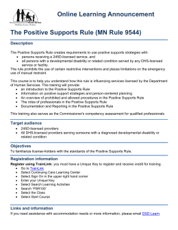 Positive Support Rule (MN Rule 9544) (PDF