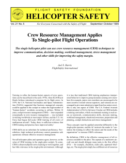 Crew Resource Management Applies to Single