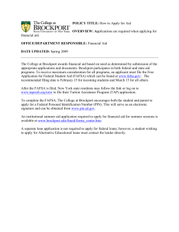 How to Apply for Aid - The College at Brockport