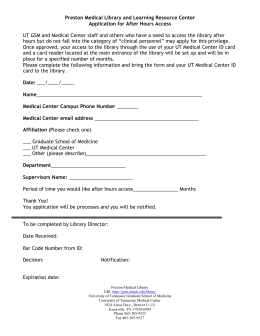Preston Medical Library and Learning Resource Center Application