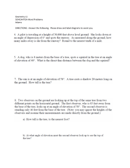 Geometry L1 SOHCAHTOA Word Problems Adams