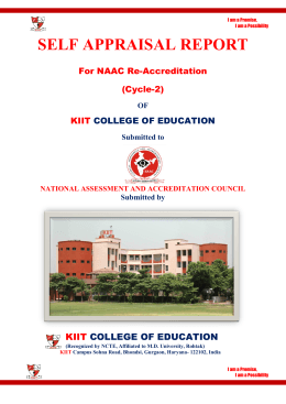 SSR Reaccreditation - KIIT College of Education