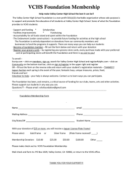 VCHS Foundation Membership/Contribution form