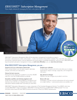 EBSCONET® Subscription Management