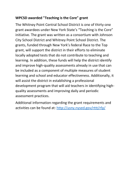 "WPCSD awarded ""Teaching is the Core"" grant The Whitney Point"