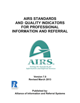 airs standards and quality indicators for professional information