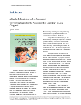 """Seven Strategies for the Assessment of Learning"" by Jan Chappuis"