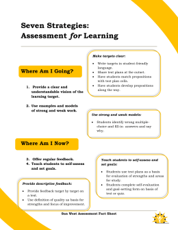 Seven Strategies: Assessment for Learning - Supporting