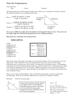 Notes for Trigonometry SOHCAHTOA