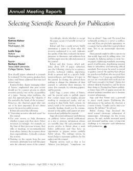 Selecting Scientific Research for Publication