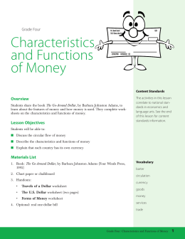 Grade Four: Characteristics and Functions of Money