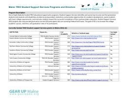 Maine TRIO Student Support Services Programs and Directors