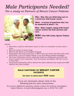 Male Participants Needed! - Male Caregivers of Breast Cancer